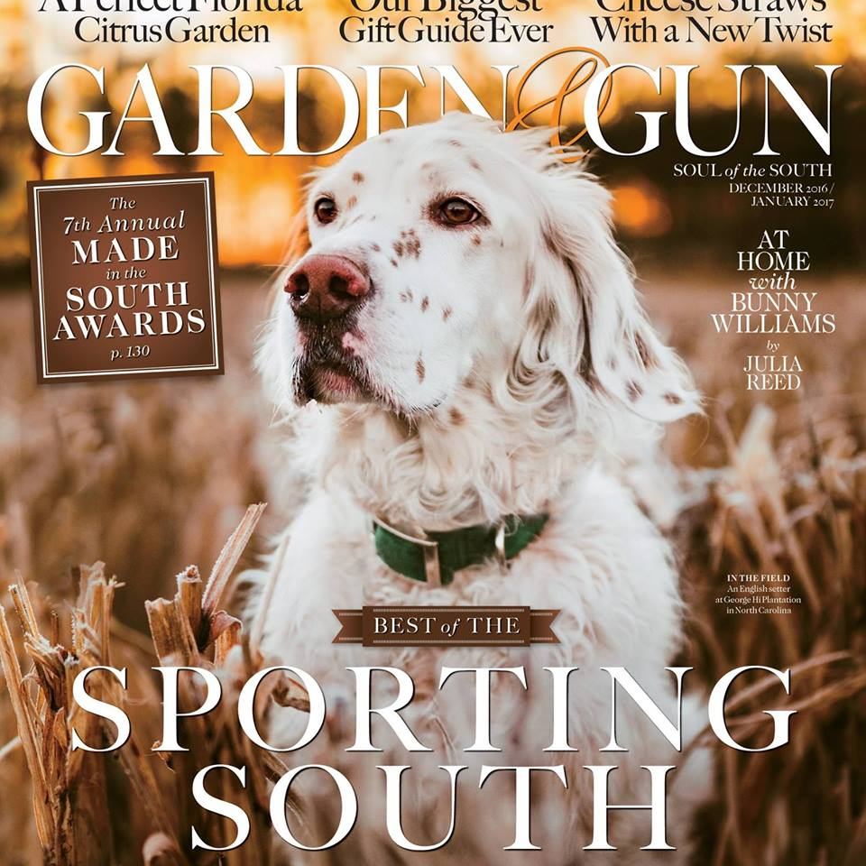 BB makes the cover of Garden and Gun DeCoverly Kennels